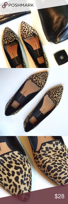 Dolce Vita Animal Print Calf Skin Leather Flats Absolutely gorgeous camel and black animal print pointed toe flats. Chic with a LBD, work appropriate with a pencil skirt and casual with boyfriend jeans and a white button down. These are truly a wardrobe work horse. Very gently used. Sorry, no trades. Dolce Vita Shoes Flats & Loafers