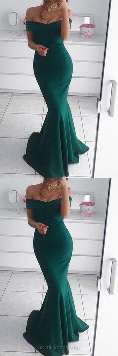 Silk-like Satin Off-the-shoulder Trumpet/Mermaid Sweep Train Ruffles Prom Dresses G399