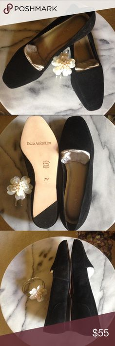 """Soft black suede Enzo Angiolini flats-beautiesHP HOST PICKJet black flats are new, never worn (have box) as you can see by the lovely leather soles! So soft suede will mould to your foot for comfort. Often hard to find, these are a wide width size 7 from this famous maker, in """"Richs"""" style. Insole seems to be flaking in places - happy to provide a new insole for you and they'll be perfect! Comfortable low heel in understated classic style. Enzo Angiolini Shoes Flats & Loafers"""