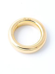 Pomellato 18k Yellow Gold Small Rolled Plain Band. 18 Yellow Gold Band. Available at London Jewelers.