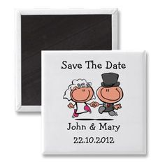 Save the Date Wedding Couple cartoon Magnet, sold 50 to Melanie  Potsdam, Germany