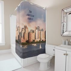 NYC Lower Manhattan Skyline with Personalized Name Shower Curtain - This unique, FUN Shower Curtain is decorated with our original photograph of the Lower Manhattan skyline of New York City (NYC). Lots of colorful tall buildings, with sailboats on the Hudson River in the foreground. New Yorkers will love it!!! Matching Bath Mat is zazzle product ID 256831390386689147. All Rights Reserved © 2017 Alan & Marcia Socolik.