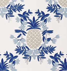 Navy Pineapple Wallpaper from Rifle Paper Co #pineapple #wallpaper #blue