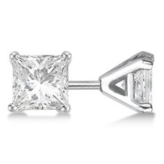 025ct Stud Diamond Earrings 14K White Gold Modern Princess Cut GH VSSI * You can find more details by visiting the image link. Note:It is Affiliate Link to Amazon.