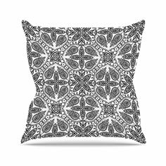 KESS InHouse NS2045AOP03 18 x 18-Inch 'Nandita Singh Boho In Black And White Grey Pattern' Outdoor Throw Cushion - Multi-Colour