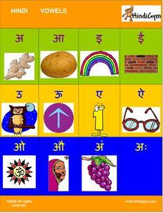Hindi Vowel Chart FREE print at home! Varnamala. Swar!
