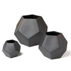 Clean, simple, and angular, we designed these vases with the hallmarks of Mid-Century design in mind. Layer one or several for a jolt of geometric glamour in your home decor routine. Ceramic. Small- 4