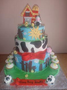 Farmer baby shower cake