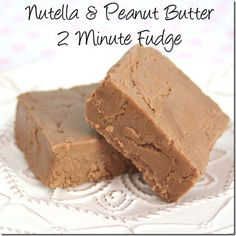 Nutella and Peanut Butter 2 Minute Fudge. Oh my this looks good!! @Gina Giampaolo @ Shabby Creek Cottage