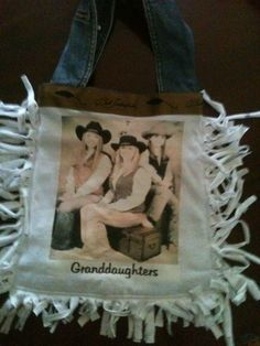 Nice way to show off the grands. Made with tee shirts and jean jacket.