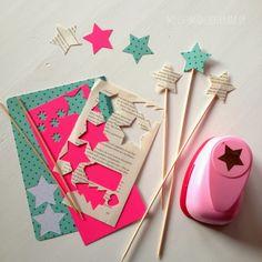 Stern, Sterne, Stanzer, Motivlocher, Motivstanzer, Sterne aus buntem Karton, ausgestanzte Sterne, Schaschlikstäbchen, Holzstäbchen, Deko, Weihnachten