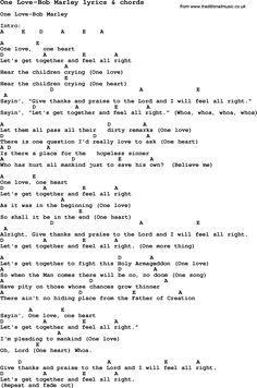 Love Song Lyrics for: One Love-Bob Marley with chords for Ukulele, Guitar Banjo etc.