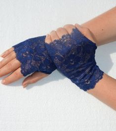 Lace Navy Blue Fingerless gloves Navy Blue Stretch Lace by Sizana Knitting Accessories, Handmade Accessories, Navy Blue Color, Stretch Lace, Mehndi, Fingerless Gloves, Arm Warmers, Night Out, Gifts For Her