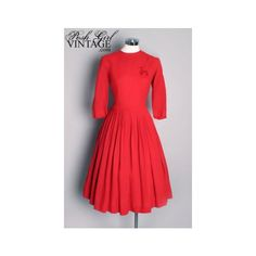 1950's Red Poodle Dress vintage clothing 1940's 1950's vintage Red Poodle dress dresses (199) found on Polyvore