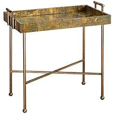 Uttermost Couper Burnished Gold Leaf Tray Table