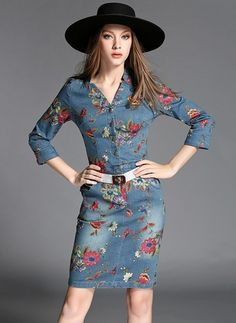Cotton Blends Floral 3/4 Sleeves Above Knee Casual Dresses