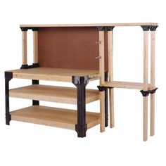 It's easy to create durable and functional outdoor furniture, storage solutions, and more using do-it-yourself products just add Build your own custom workbench with integrated shelving using our WorkBench Legs with ShelfLinks and your lumber. Wood Top Workbench, Building A Workbench, Woodworking Workbench, Woodworking Shop, Woodworking Crafts, Garage Workbench, Industrial Workbench, Woodworking Equipment, Garage Bench