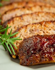 Barbecue Glazed Meatloaf - not your mothers meatloaf. A moist combo of lean beef, turkey, and my secret ingredient - Granny Smith apple! Leftovers make great sandwiches.