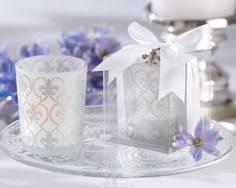 "Paris Theme - ""Fleur de lis"" Frosted-Glass Tea Light Holder"