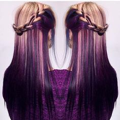 Purple hair color and braid by Rachel Prince Long Purple Hair Hair Painting Ombre hotonbeauty.com