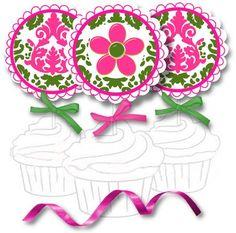 Pink & Green Printable Damask Cupcake Toppers