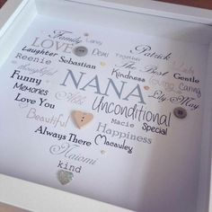 Heart Button Box Frame Picture (personalised with your words) £16.99