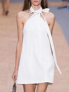 White Halter Tie Neck Shift Mini Dress