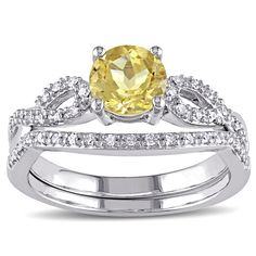 Miadora 10k White Gold Beryl and 1/6ct TDW Diamond Bridal Ring Set