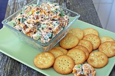 Neiman Marcus Dip - Quick and easy recipe that tastes great!  Green Onions, Cheddar Cheese, Mayo, Bacon, and Toasted Almonds (or Pecans). Serve with crackers or Frito Scoops.  Yum!  #cocktailparty