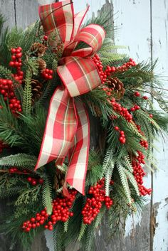 Christmas Wreath, Red Berries, Pine Plaid Bow via Etsy.