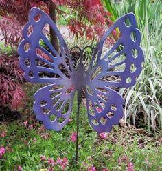 Butterfly Garden Stake / Garden Decor / Garden Art / Rustic Decor / Yard Art  / Metal Garden Art / Outdoor Garden Decor / Lawn Ornament