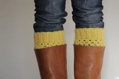 Crochet Boot Cuffs in Mustard Yellow by LumiStyle on Etsy, $28.00