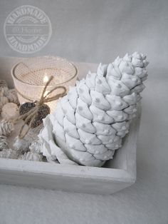 White pinecones https://www.facebook.com/bizzyathome