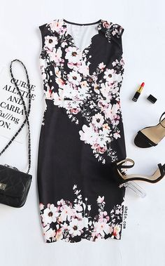 Black Flower Print Scalloped Trim Sheath Dress