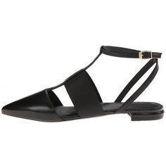 58.00$  Buy now - http://aligdw.worldwells.pw/go.php?t=32656521374 - Black Open Heel Flat Heel Sandal Ankle Strap Pointed Toe Women Flats Sandal Sapato Feminino Maternity Shoes OL Dress Shoes 58.00$