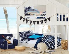 ARE YOU KIDDING ME WITH THIS BED!!! SUPER COOL!  Surf Comforter Shared Space | Pottery Barn Kids