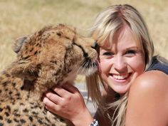 Heather Tookey, a 21-year-old HR representative, has become best friends with Dew, one of the Cheetahs at the breeding center in South Africa.