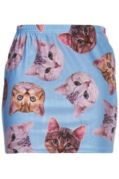 ROMWE   Cats' Heads Print Blue Skirt, The Latest Street Fashion
