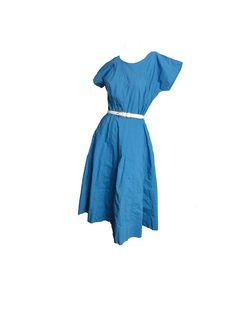 Vintage 1950s Day Dress Teal Blue Cotton Short Sleeves Full Skirt Summer Picnic Dress Size Medium Large