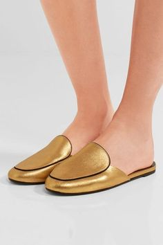 Slight heel  Gold brushed-leather  Slip on