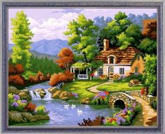 Colour Talk Diy oil painting, paint by number kit- Bucolic 1620 inch. Scenery Paintings, Nature Paintings, Oil Paintings, Beautiful Landscape Wallpaper, Beautiful Landscapes, Landscape Art, Landscape Paintings, Oil Painting Materials, Cottage Art