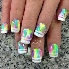 Pin by Kendra Fuller on Nail Art Rainbow Nails, Neon Nails, Love Nails, Diy Nails, Pretty Nails, Nail Polish Designs, Cute Nail Designs, Fancy Nails, Glam Nails