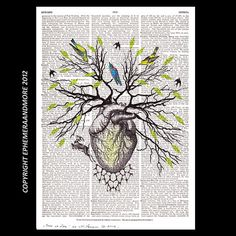 Human HEART as TREE of LIFE art print anatomical heart illustration woodland forest bird dictionary art print on vintage book page 8x10, 5x7...