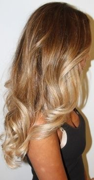 dark honey to champagne blonde ombre...I need to get my hair done!! Ooh this might look good!!!