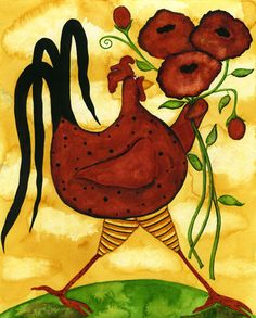 roosters and chickens painting books | Hubbs Art Folk Prints Whimsical Animal Fowl Chicken Rooster Floral ...