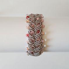 Gray Micro-Macrame Beaded Bracelet With Pink by NeedleAndThreadEtc