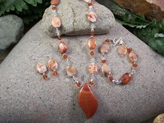 3 Piece Set, Fire Agate, Swarovski Crystals & Sterling Silver! obsessionjewelry.com