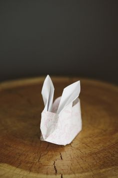 DIY Ultra Cute Origami Easter Bunnies with Cotton Bums by ohsoverypretty: Fill them with treats! #DIY #Origami #Easter_Bunny