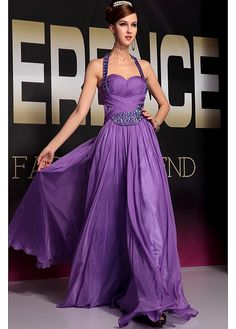 In Stock Glamorous A-line Halter Neckline Raised Waist Ruffle Purple Full Length Evening Gown