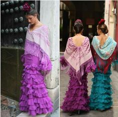 Doña Ana 2016 Ideales  trajes  ,colores  y mantones Comfortable Outfits, Burlesque, Gypsy, Sewing Projects, Sari, Flamenco Dresses, Princess, My Style, How To Wear